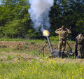 120 mm mortar firing Royalty Free Stock Image