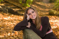 13 year old teen girl in fall foliage. Royalty Free Stock Photo