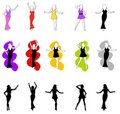15 Female Fashion Silhouettes Royalty Free Stock Photo