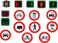 16 road signs and lights Royalty Free Stock Image