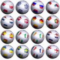16 soccer balls of 2012 European competitors Royalty Free Stock Photos