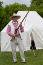1812 Reenactment Militia Man with Flintlock Royalty Free Stock Photo