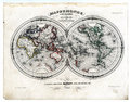 1846 Map World in Hemispheres Royalty Free Stock Photo