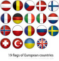 19 flags of european countries Royalty Free Stock Photo