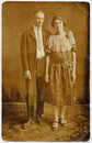 1920's Couple Wedding Portrait Stock Photography