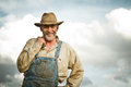 1930s farmer smiling at the camera Royalty Free Stock Photo