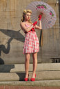 1940's starlet with umbrella Royalty Free Stock Photography