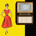 1950's Retro Television Background Stock Photo