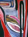 1990 - 'Landscape with Arches and Ovals', acrylic large painting, A high resolution art image in free download to print,