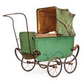 19th Century baby pram isolated on white Stock Photos