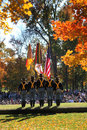 1st Calvary Color Guard - Veterans Day Ceremony Stock Photo