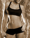2 dziewczyna sepiowa fizycznej fitness Fotografia Royalty Free