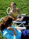 2 girls in the park Stock Images