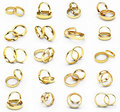 20 isolated gold wedding rings Royalty Free Stock Photography