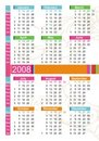 2008 colorful calendar Royalty Free Stock Image