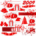 2009 Red Holiday icons Stock Photo