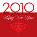 2010 Happy New Year text and ornament red Royalty Free Stock Photo