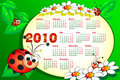 2010 Kid calendar with ladybug Royalty Free Stock Photos