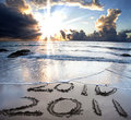 2010 to 2011 on beach Royalty Free Stock Photo