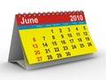 2010 year calendar. June Royalty Free Stock Photo