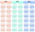 2011, 2012, 2013 Kalender Stockfotografie