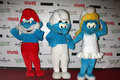 2011 ankommer jul som hollywood ståtar smurfs Arkivfoton
