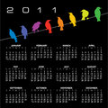 2011 calendar with birds Royalty Free Stock Images