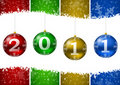 2011 new year illustration with christmas balls an Stock Images