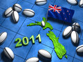 2011 rugby design in New Zealand with its flag Stock Image