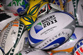 2011 Rugby World Cup - Rugby Balls Royalty Free Stock Photography