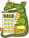 2012 calendar with green dragon Royalty Free Stock Photography