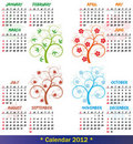 2012 calendar season tree Stock Images