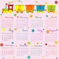 2012 Kalender voor jonge geitjes met beeldverhaaltrein Stock Afbeelding