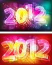 2012 on neon background Royalty Free Stock Photos
