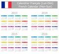 2013-2016 mon-Zon van de Kalender van het Type 1 de Franse Royalty-vrije Stock Afbeeldingen