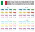 2013-2016 Type-1 Italian Calendar Mon-Sun Stock Photo