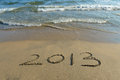 2013 on the beach of sunrise Stock Photo