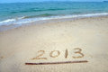 2013 on the beach of sunrise Royalty Free Stock Photos