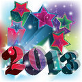 2013 blast in a colorful starry background Stock Image