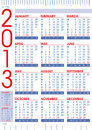 2013 calendar in english with rulers Stock Photo