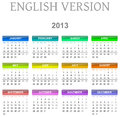 2013 calendar english version Royalty Free Stock Image