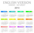 2013 crayons calendar english version sun - sat Royalty Free Stock Photos