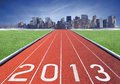 2013 logo on a athletics track Royalty Free Stock Images