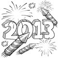 2013 New Year's fireworks vector Stock Image