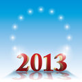 2013 template - stars on blue and copyspace Stock Images