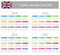 2014-2017 Type-1 English Calendar Sun-Sat Stock Photo
