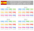 2014-2017 Type-1 Spanish Calendar Mon-Sun Stock Photo