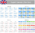 2014 English Mix Calendar Mon-Sun Royalty Free Stock Photography