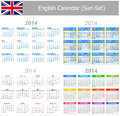 2014 English Mix Calendar Sun-Sat Royalty Free Stock Images