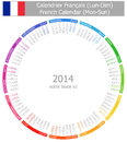 2014 French Circle Calendar Mon-Sun Stock Photography